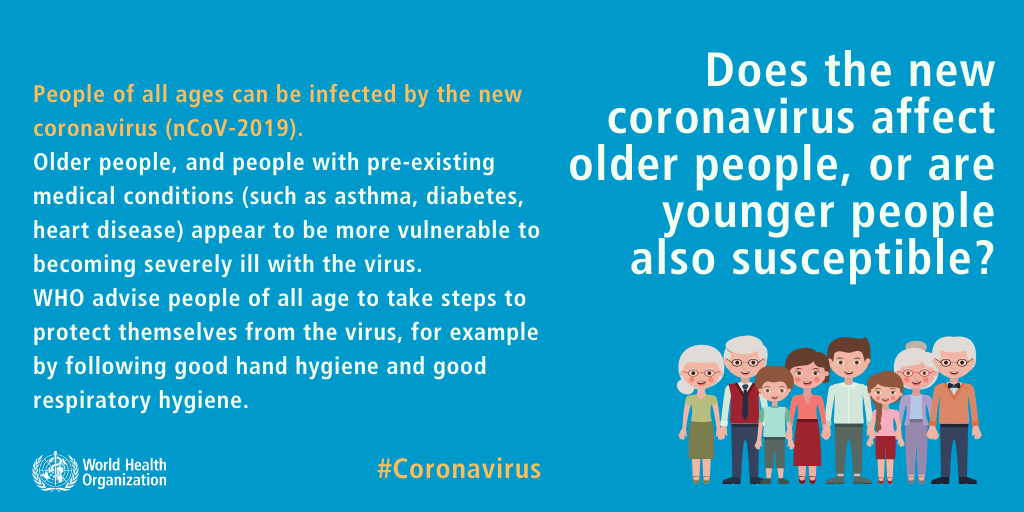 World Health Organization infographic explaining coronavirus can affect people of all ages not just older people or young children.